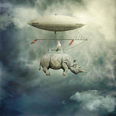 Rhinoceros Digital Art - ... by Beata Bieniak