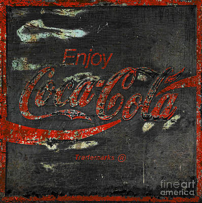 Coca Cola Sign Grungy  Print by John Stephens