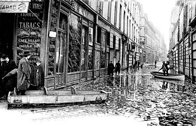 10th Century Flooded Paris Street Print by Collection Abecasis