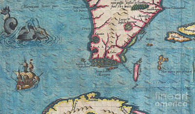 1591 De Bry And Le Moyne Map Of Florida And Cuba Print by Paul Fearn