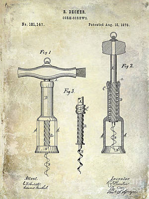 Sommelier Photograph - 1876 Corkscrew Patent Drawing by Jon Neidert