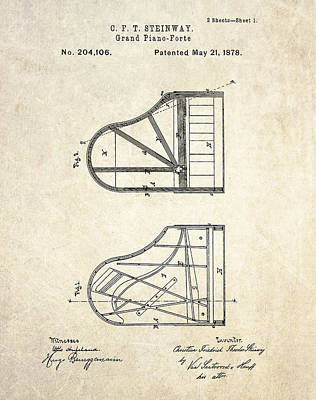Patent Drawing - 1878 Steinway Grand Piano Forte Patent Art S. 1 by Gary Bodnar