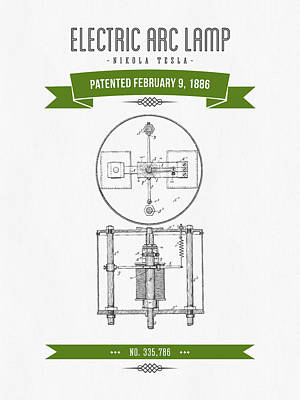 1886 Nikola Tesla Electric Arc Lamp Patent Patent Drawing - Retr Print by Aged Pixel