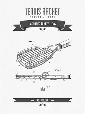 Tennis Mixed Media - 1887 Tennis Racket Patent Drawing - Retro Gray by Aged Pixel
