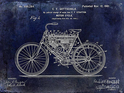 Harley Davidson Photograph - 1901 Motorcycle Patent Drawing Blue by Jon Neidert