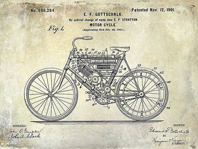 Harley Davidson Photograph - 1901 Motorcycle Patent Drawing by Jon Neidert