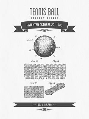 Tennis Mixed Media - 1907 Tennis Racket Patent Drawing - Retro Gray by Aged Pixel
