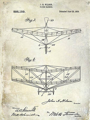 Airliners Drawing - 1909 Flying Machine Patent Drawing  by Jon Neidert