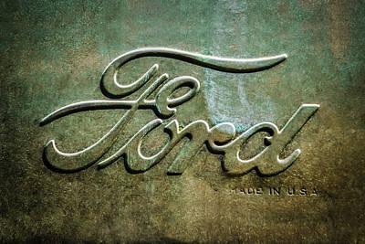 1912 Ford Hood Ornament - Emblem -0496bw Print by Jill Reger