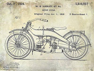 Patent Photograph - 1924 Harley Davidson Motorcycle Patent  by Jon Neidert