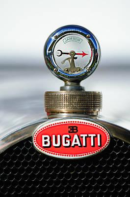 1928 Photograph - 1928 Bugatti Type 44 Cabriolet Hood Ornament - Emblem by Jill Reger