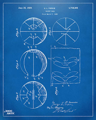 1929 Basketball Patent Artwork - Blueprint Print by Nikki Marie Smith