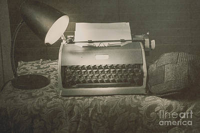 1930s Press Release On Antique Reporters Desk Print by Jorgo Photography - Wall Art Gallery