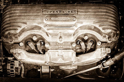 1932 Ford 409 Engine Print by Jill Reger