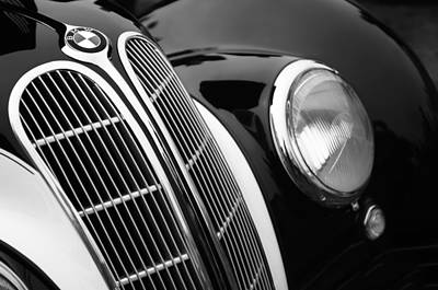 Car Photograph - 1938 Bmw 327-8 Cabriolet Grille Emblem by Jill Reger