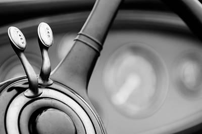 1931 Lincoln K Steering Wheel - Spark - Gas Controls  -1858bw Print by Jill Reger