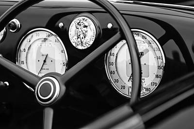 1940 Alfa Romeo 6c 2500 Ss Graber Cabriolet Steering Wheel - Guages Print by Jill Reger