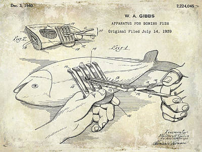 1940 Boning Fish Patent Drawing Print by Jon Neidert