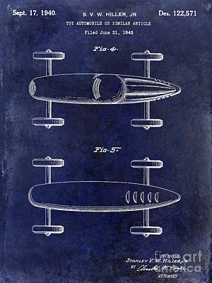 1940 Toy Car Patent Drawing Blue Print by Jon Neidert