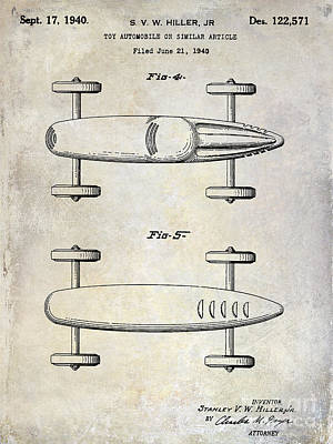 Indy Cars Photograph - 1940 Toy Car Patent Drawing by Jon Neidert