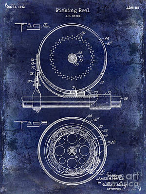 Cape Cod Photograph - 1942 Fishing Reel Patent Drawing Blue by Jon Neidert
