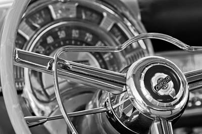 1950 Chrysler New Yorker Coupe Steering Wheel Emblem Print by Jill Reger