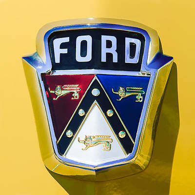 Custom Ford Photograph - 1950 Ford Custom Deluxe Station Wagon Emblem by Jill Reger