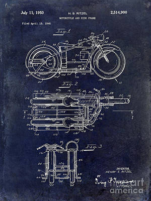 Harley Davidson Photograph - 1950 Motorcycle Patent Drawing Blue by Jon Neidert