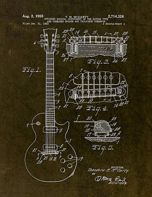 Pauls Drawing - 1955 Gibson Les Paul Patent Drawing by Gary Bodnar