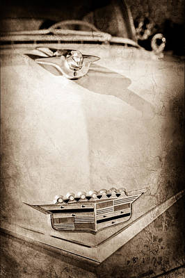 1956 Cadillac Sedan Deville Hood Ornament - Emblem Print by Jill Reger