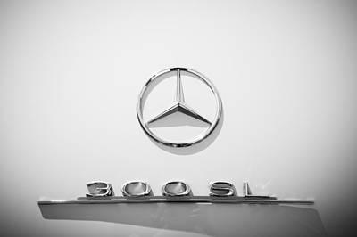 Mercedes Benz 300 Classic Car Photograph - 1961 Mercedes Benz 300sl Roadster Emblem by Jill Reger
