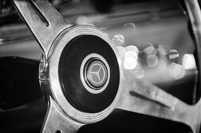 Mercedes Benz 300 Classic Car Photograph - 1961 Mercedes Benz 300sl Roadster Steering Wheel Emblem by Jill Reger