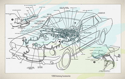 1966 Mustang Accessories Print by Don Kuing