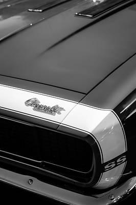 Camaro Photograph - 1967 Chevrolet Camaro Ss 350 Convertible Hood Emblem by Jill Reger