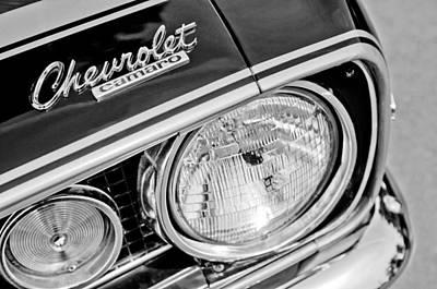 Camaro Photograph - 1967 Chevrolet Camaro Ss Head Light Emblem by Jill Reger
