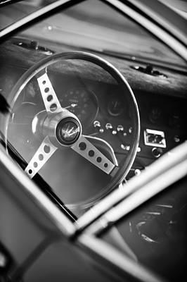 1967 Maserati Ghibi Steering Wheel Emblem Print by Jill Reger