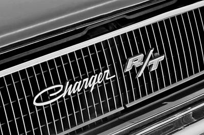 1968 Photograph - 1968 Dodge Charger Rt Coupe 426 Hemi Upgrade Grille Emblem by Jill Reger
