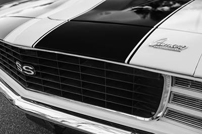 Indy Car Photograph - 1969 Chevrolet Camaro Rs-ss Indy Pace Car Replica Grille - Hood Emblems by Jill Reger