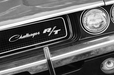 American Muscle Car Print featuring the photograph 1970 Dodge Challenger Rt Convertible Grille Emblem by Jill Reger