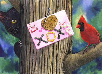 Wicked Kitty Painting - 2 Red Burd by Catherine G McElroy
