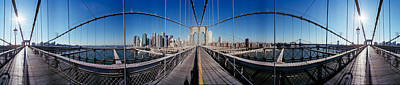 360 Degree View Of A Bridge, Brooklyn Print by Panoramic Images