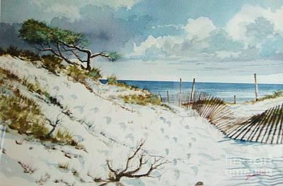 Windblown Painting - 9 'til 5 On The Beach by Gerald Bienvenu