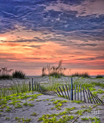 Sand Fences Digital Art - A Beach Sunset by Brian Mollenkopf