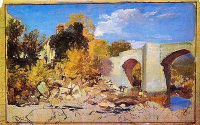 Antique Painting - A Bridge With A Cottage And Trees Beyond  by Celestial Images