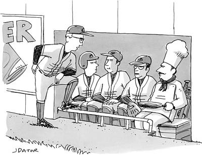 A Coach Is Standing By A Baseball Dugout Print by Joe Dator