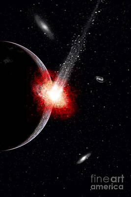 Collision Of Worlds Digital Art - A Comet Hitting An Alien Planet by Mark Stevenson