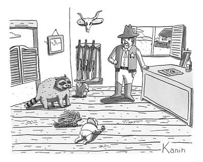 Raccoon Drawing - A Cowboy Looks On At A Group Including A Baby by Zachary Kanin
