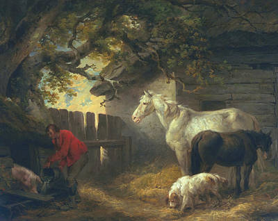 Filly Painting - A Farmyard by George Morland