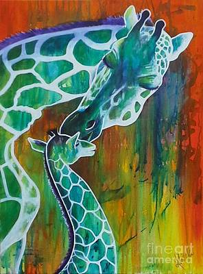 Mother And Baby Giraffe Painting - A Mother's Devotion by Almeta LENNON