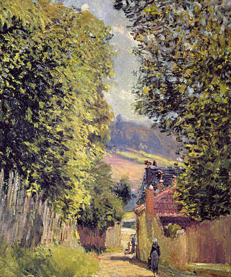 Perspective Painting - A Road In Louveciennes by Alfred Sisley